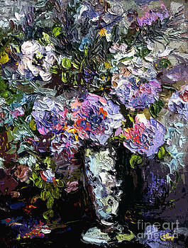 Ginette Callaway - Abstract Blue Roses Modern Still Life
