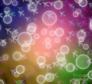 Abstract Colorful Defocused Airplane Bokeh With Bubble by Pakorn Kitpaiboolwat