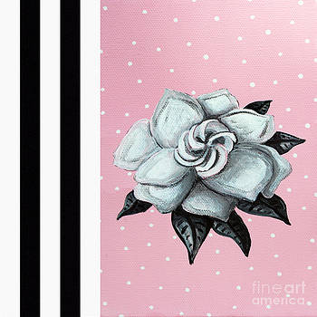Abstract Contemporary Whimsical Pink Painting Gardenia Flower by MADART by Megan Duncanson