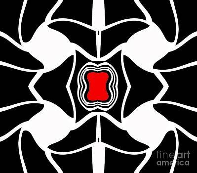 Abstract Geometric Black White Red Art No.381. by Drinka Mercep