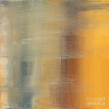 Abstract Golden Yellow Gray Contemporary Trendy Painting FLUID GOLD ABSTRACT I by MADART Studios by Megan Duncanson