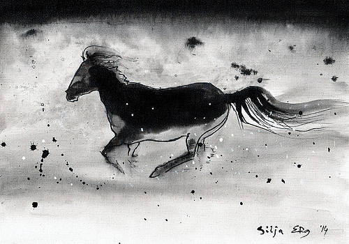 Abstract horse ink by Silja Erg