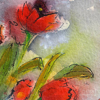 Ginette Fine Art LLC Ginette Callaway - Abstract Modern Red Tulips Watercolor