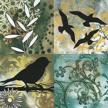 Abstract Whimsical Decorative Bird Art Original Paintings NATURES WHIMSY SQUARE 1 by MADART by Megan Duncanson