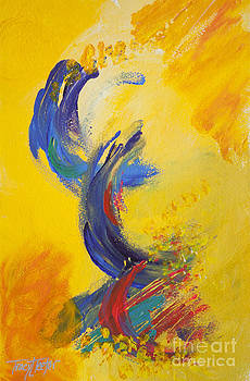 Abstract Yellow Blue by Tracy L Teeter