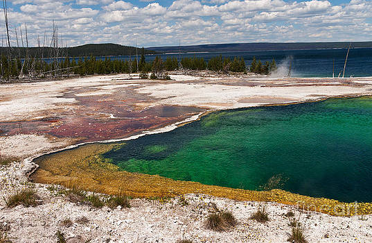 Abyss Pool and Yellowstone Lake by Sue Smith