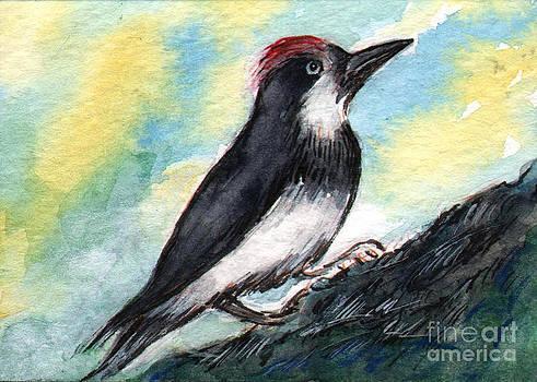 Ac204 Red Head Bird by Kirohan Art