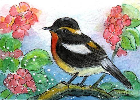 Ac315 Little Bird and Flowers by Kirohan Art