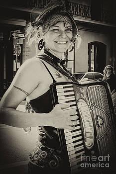 Kathleen K Parker - Accordion Player on Royal Street New Orleans- monochrome vintage
