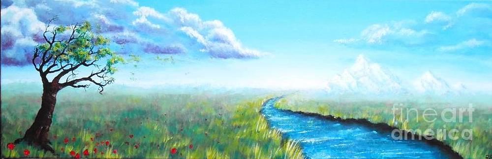 Acrylic paint panoramic landscape by Danse DesSonges