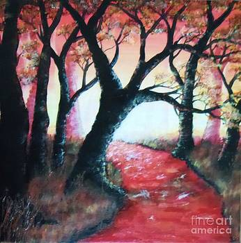 Acrylic paint the red dawn by Danse DesSonges
