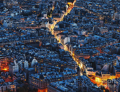 Aerial Night View of Paris by Radu Razvan