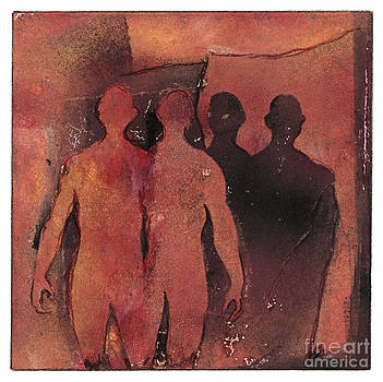 Affinity - Monotype - Figures - Friendship - Twins - Family - Etching - fine art print - stock image by Urft Valley Art