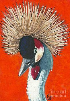 African Crested Crane - Got My Hat on so Where's the Party? by Sherry Goeben