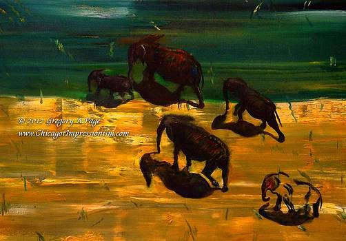 African Elephants by Impressionism Modern and Contemporary Art  By Gregory A Page