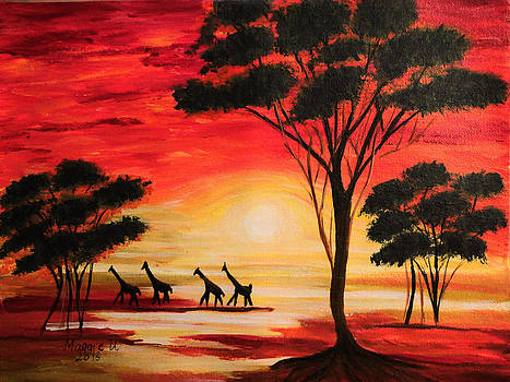 African sunset by Maggie Ullmann