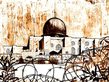 Al-Asqa Mosque Palsetine- Mustard by Salwa  Najm