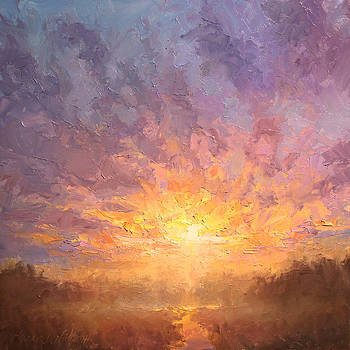 Impressionistic Sunrise Landscape Painting by Karen Whitworth
