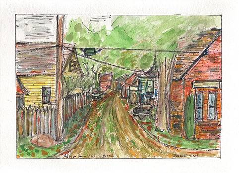Alley on Union Street - sketch by David Dossett