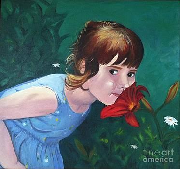 Amanda Smells the Flower by Vikki Angel