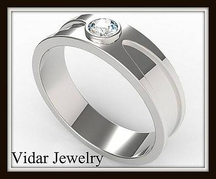 Amazing 14k White Gold Diamond Men Wedding Ring by Roi Avidar