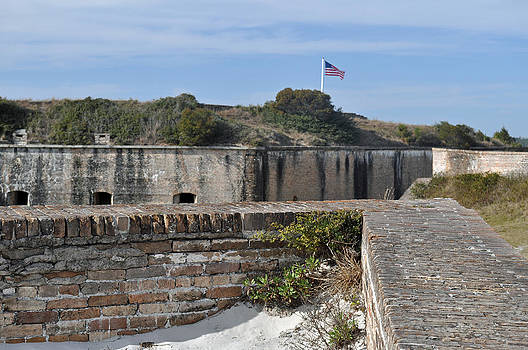 American Flag Over Fort Pickens Florida by Bruce Gourley