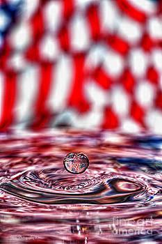 American Flag Water Drop by Linda Blair