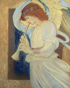Sir Edward Coley Burne-Jones - An Angel Playing a Flageolet