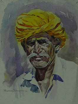 An old man with yellow turban by Prashant Srivastava