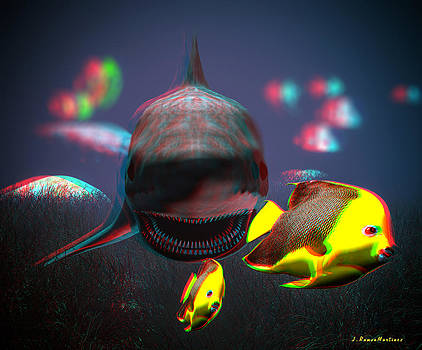 Anaglyph Shark and Fishes by Ramon Martinez