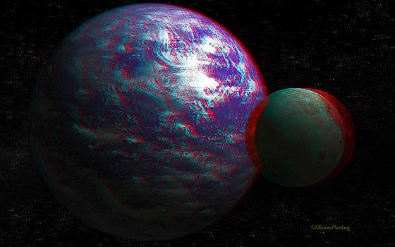 Anaglyph Tellus and Moon by Ramon Martinez