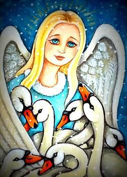 Angel Sheltering Seven Swans by Debrah Nelson
