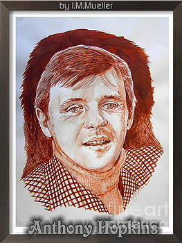 Anthony Hopkins in brown ink by Iracema Marianne Muller