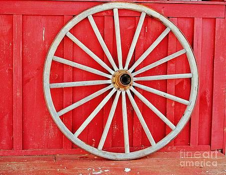 Antique Wagon Wheel by Judy Palkimas