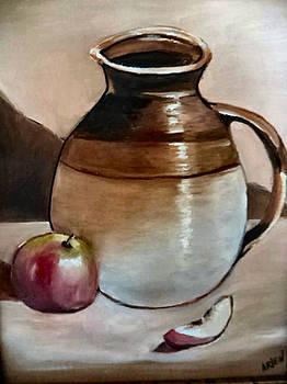 Apple with Ceramic jug. by Arlen Avernian Thorensen