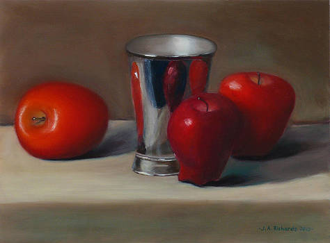 Apples and metal cup by Jennifer Richards