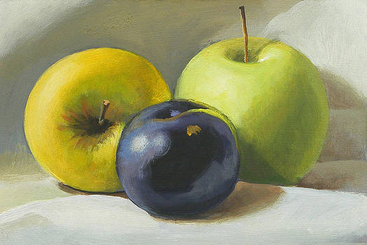 Apples and plum by Peter Orrock