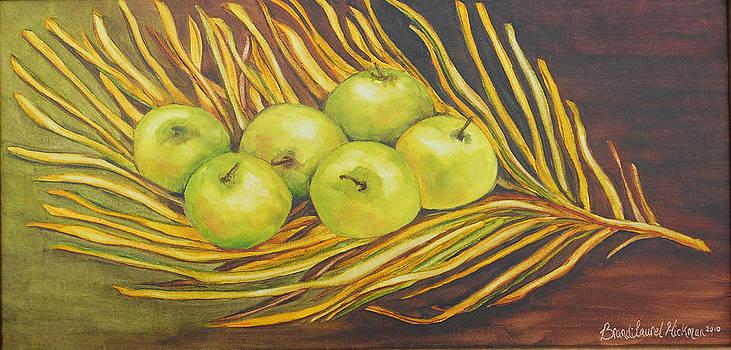 Apples on Dried Grass by Brandi  Hickman