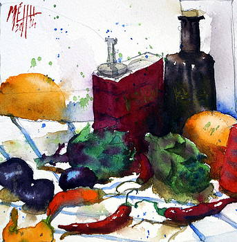 Artichokes and red pepper by Andre MEHU