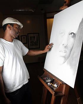 Artist at work by Adrian Pickett