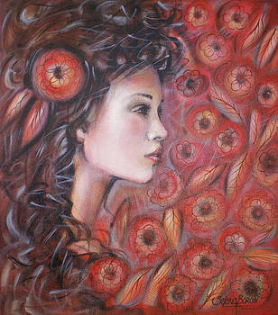 Asian Dream In Red Flowers 010809 by Selena Boron