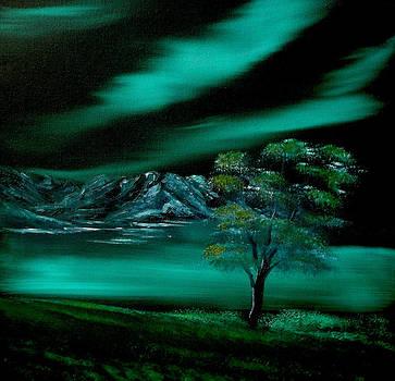 Aurora Borealis in Oils. by Cynthia Adams