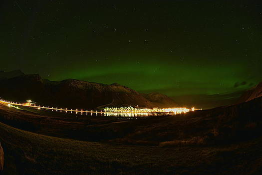 Aurora Borealis over Siglufjord. by Erlendur Gudmundsson