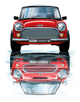 Austin Mini Cooper with new BMW Mini Cooper Reflected by David Kyte