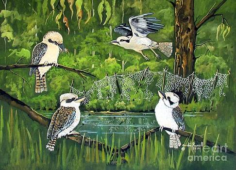 Australian laughing kookaburras at the waterhole by Audrey Russill