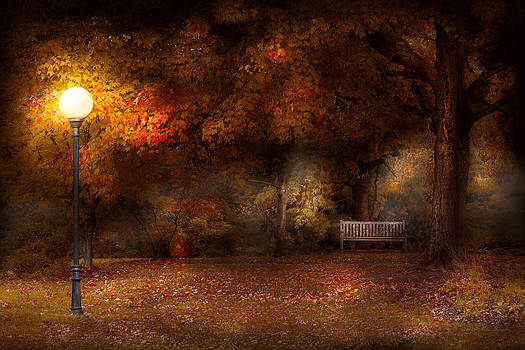 Mike Savad - Autumn - A park bench