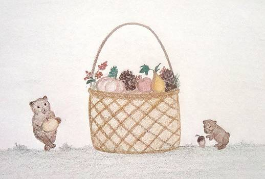 Autumn Fruit Basket and Bears by Christine Corretti
