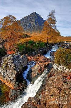 Autumn View of Buachaille Etive Mor and River Coupall near Glencoe in Scotland by John Kelly