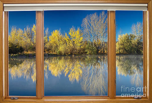 James BO  Insogna - Autumn Water Reflection Classic Wood Window View