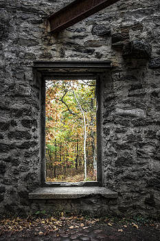 Autumn within Cunningham Tower - Historical Ruins by Gary Heller